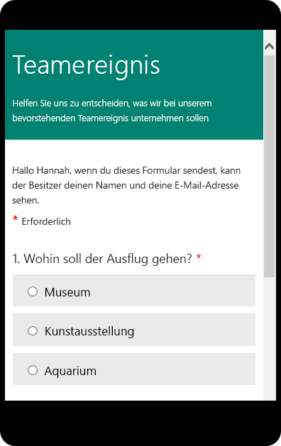 Umfrage mit MS Forms